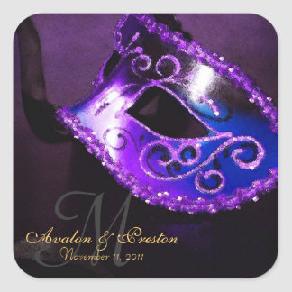 Pegatina elegante del monograma de la mascarada pú