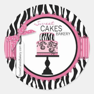 Pegatina elegante del negocio de la torta del