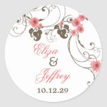Pegatina elegante floral del boda de Fleur de los