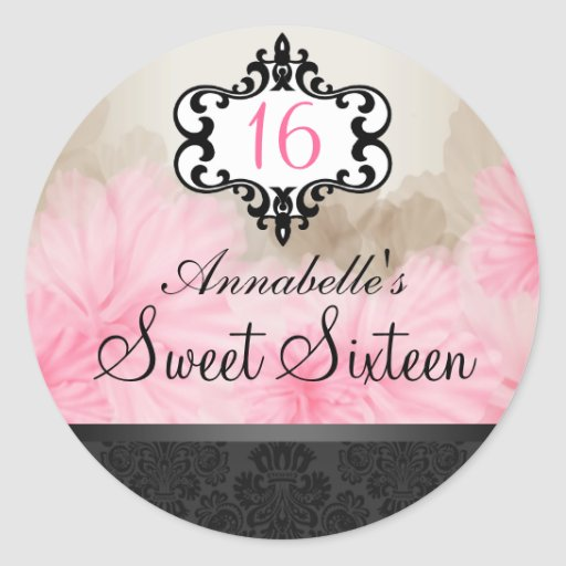 Pegatina elegante floral rosado y negro elegante