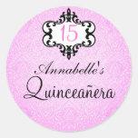 Pegatina elegante rosado/negro elegante de Quincea