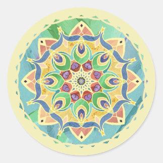 Pegatina en colores pastel de la mandala de la paz pegatina redonda