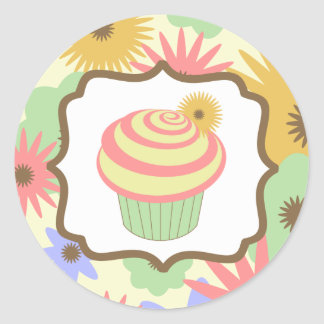 Pegatina en colores pastel retro del cumpleaños de