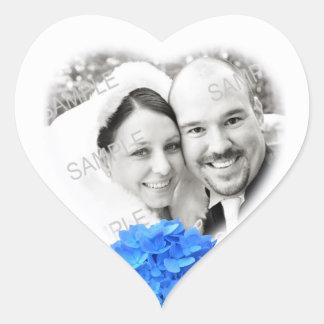 Pegatina en forma de corazón del boda de la foto y