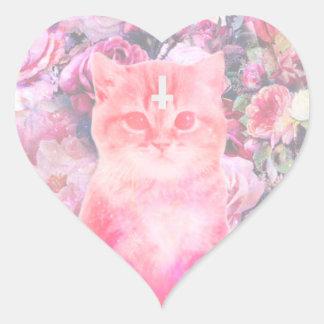 Pegatina en forma de corazón del gato en colores