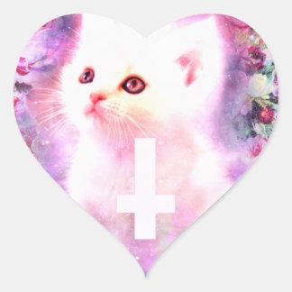 Pegatina en forma de corazón del gato en colores p