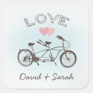 Pegatina en tándem azul del amor de la bicicleta
