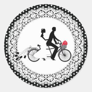 Pegatina en tándem del boda de la bicicleta