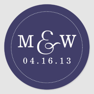 Pegatina encantador del monograma del boda -
