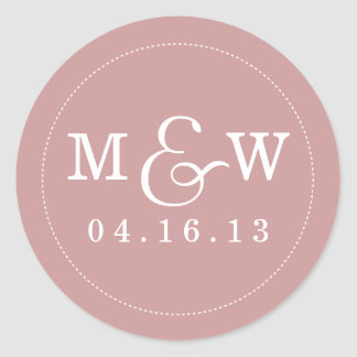 Pegatina encantador del monograma del boda - color