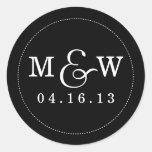 Pegatina encantador del monograma del boda - negro