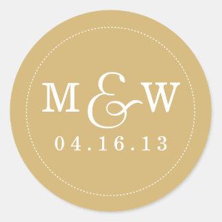Pegatina encantador del monograma del boda - oro