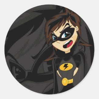 Pegatina enmascarado del chica del super héroe