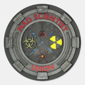 Pegatina enojado de la unión del científico