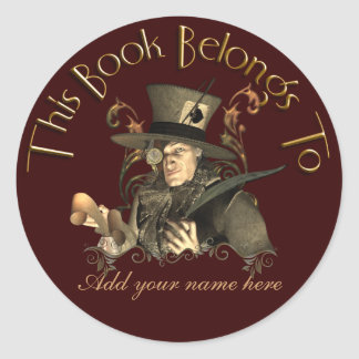 Pegatina enojado del Bookplate del sombrerero