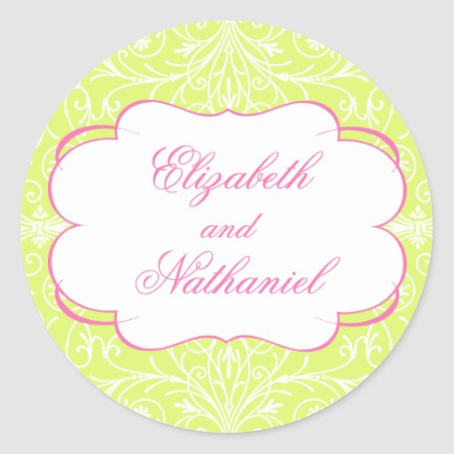 Pegatina enorme del boda del Flourish en rosa y