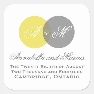 Pegatina entrelazado gris amarillo del boda de la