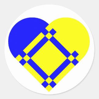 Pegatina escandinavo del corazón azul amarillo