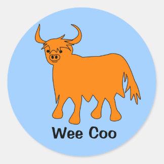Pegatina escocés de la vaca de la montaña del Coo