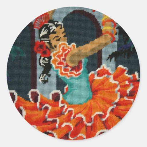 Pegatina español del bailarín del flamenco