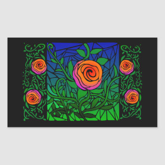 Pegatina espinoso del vitral de los rosas