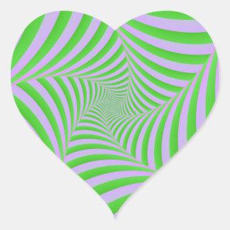 Pegatina espiral verde y de la lila del corazón