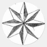 Pegatina - estrella del norte náutica del vintage