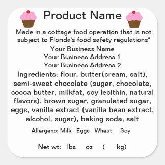 Pegatina etiqueta de la normativa alimentario de l