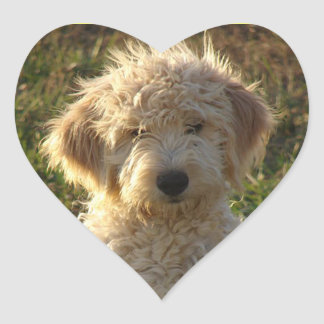 Pegatina/etiqueta del saludo del perro de perrito pegatina en forma de corazón