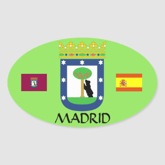 Pegatina Euro-Oval del escudo de Madrid España