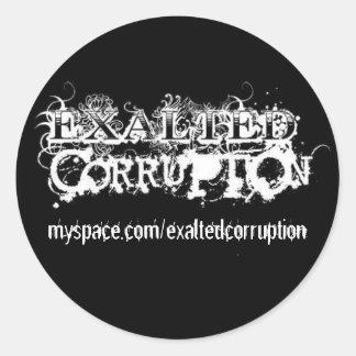 Pegatina exaltado del llano de la corrupción