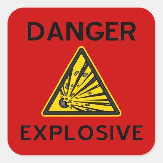Pegatina explosivo rojo de la señal de peligro