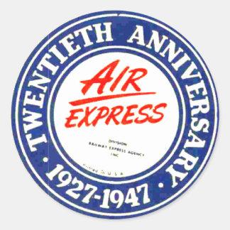 Pegatina expreso del aniversario de aire vigésimo