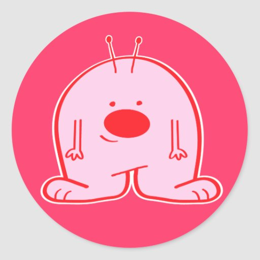 Pegatina extranjero rechoncho rosado