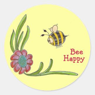 Pegatina feliz de la abeja