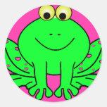 Pegatina feliz de la rana