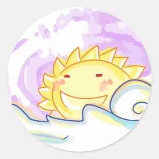 pegatina feliz de la subida del sol