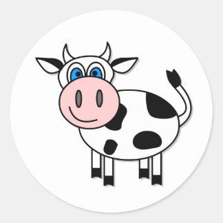 ¡Pegatina feliz de la vaca - personalizable! Pegatina Redonda