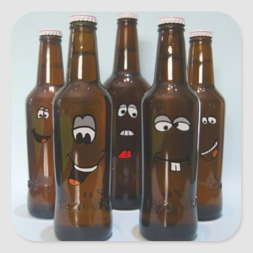 Pegatina feliz de las botellas de cerveza