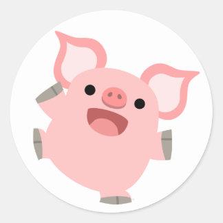 Pegatina feliz del cerdo del dibujo animado