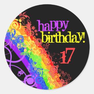Pegatina feliz del cumpleaños del arco iris 17mo