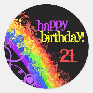 Pegatina feliz del cumpleaños del arco iris 21ro