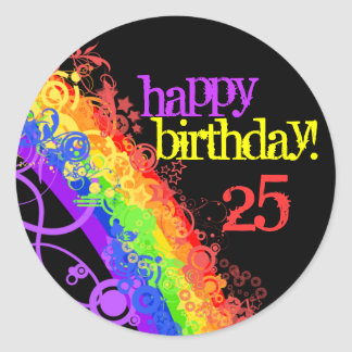 Pegatina feliz del cumpleaños del arco iris 25to