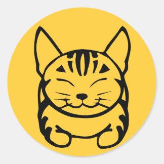 Pegatina feliz del gato (negro en amarillo)