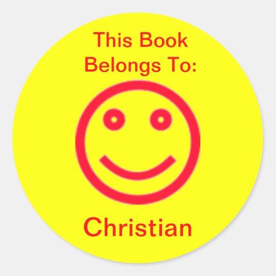 Pegatina feliz del libro de la cara del fondo de