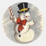 Pegatina feliz del navidad del muñeco de nieve del