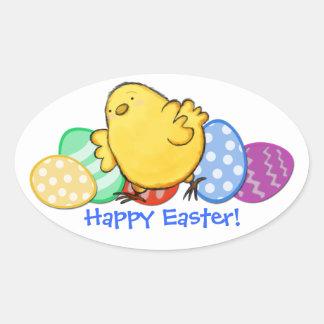 Pegatina feliz del óvalo de Pascua del polluelo