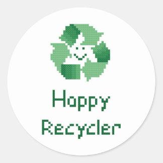 Pegatina feliz del reciclador