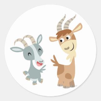 Pegatina feliz lindo de dos cabras del dibujo