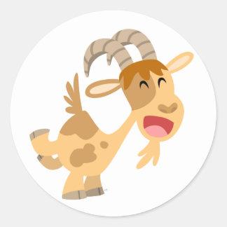 Pegatina feliz lindo de la cabra del dibujo